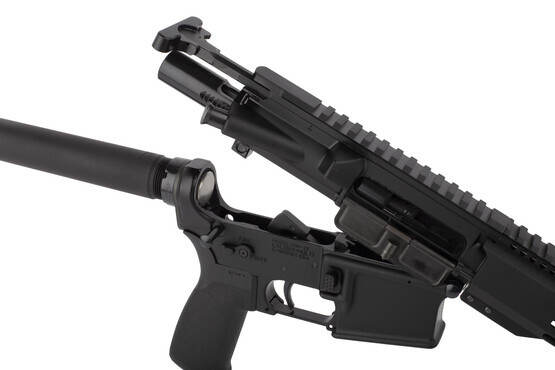 Radical 10.5in 5.56 NATO AR15 pistol featuers an M16 cut bolt carrier group and standard MIL-SPEC charging handle