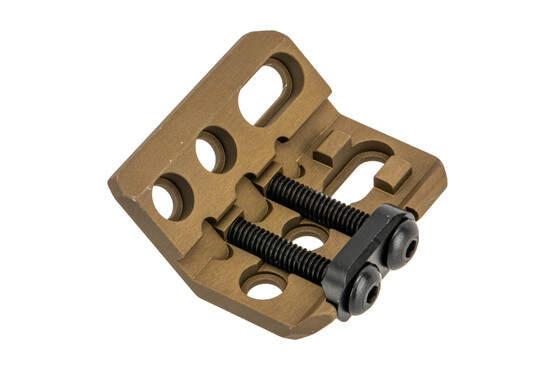 The Unity Tactical FDE Micro Hub 2.0 light mount is also compatible with iron sights