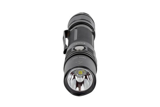 The Fenix PD35 Tactical LED flashlight features an anti-reflective lens on the durable glass