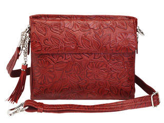 Gun Tote'n Mamas Concealed Carry American Cowhide Handbag features a tooled flower design