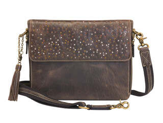 Gun Tote'n Mamas Distressed Buffalo Leather Shoulder Clutch in Brown has an adjustable shoulder strap