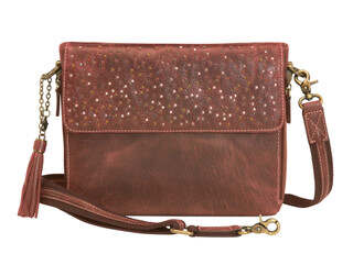 Gun Tote'n Mamas Distressed Buffalo Leather Shoulder Clutch in Red has hammered multi-colored rivets