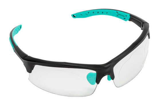 The Walkers Teal safety glasses feature rubberized polymer frames for comfort