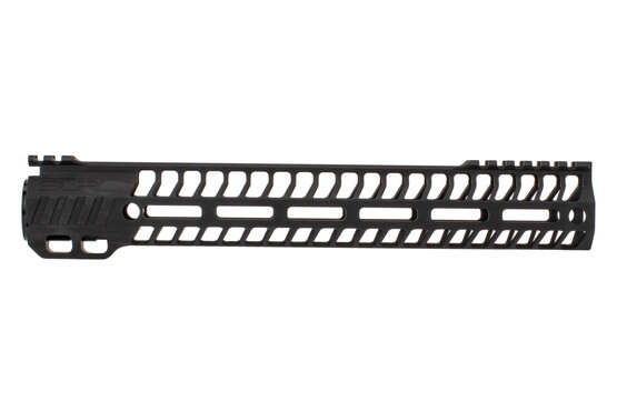 "SLR Rifleworks 12.5"" HELIX AR-15 handguard with interrupted top rail features M-LOK on four sides and a black finish"