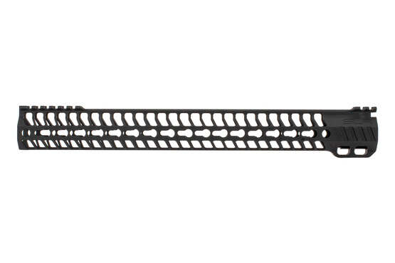 "SLR Rifleworks M-LOK HELIX rail is 16.0"" for AR15 with black anodized finish and interrupted top rail"
