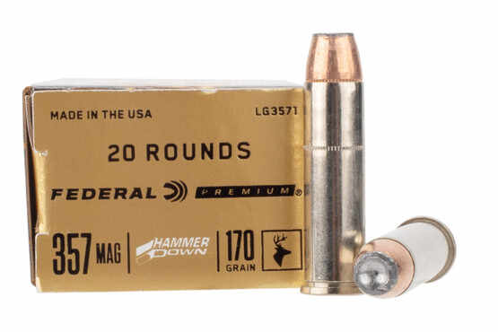 Federal Hammer Down 357 Magnum Ammunition is laded with a bonded hollow point bullet