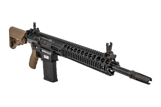 Lewis Machine & Tool L129A1 .308 rifle features a 3 pronged flash hider