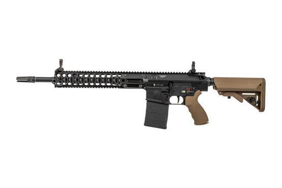 LMT L129A1 monolithic 308 AR10 rifle features a quad rail handguard