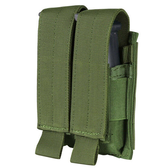 Double Pistol Mag Pouch in OD Green from Condor has hook and flap closures