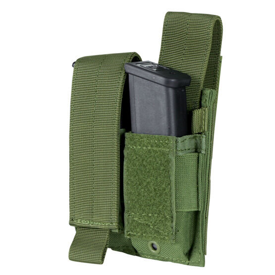 Condor Double Pistol Mag Pouch in OD Green is made from cordura nylon material