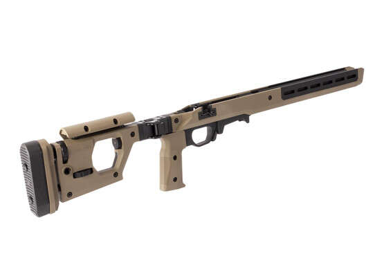 Magpul Pro 700 FDE short action rifle chassis has an adjustable vertical pistol pistol grip and can be configured left or right