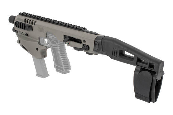 Command Arms Micro Conversion Kit with a stabilizer, ambidextrous controls, and improves accuracy out to 200 yards now in gray