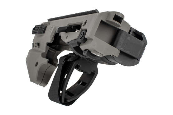 Command Arms Micro Conversion Kit for Glock 20/21s offers a side folding long stabilizer in tungsten grey