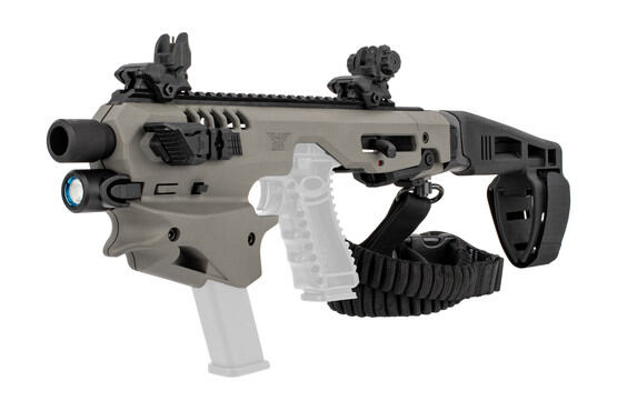 Command Arms most Glock-compatible conversion kit is highly ergonomic with a spare magazine holder built in, now in gray