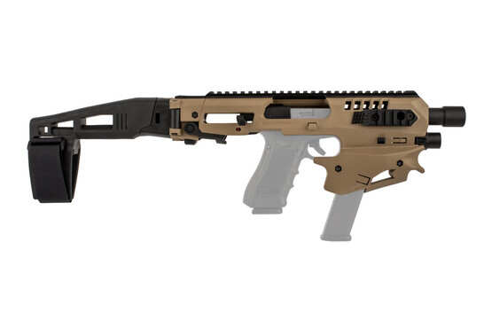 CAA micro conversion kit for GLOCK handguns features a full-length top rail for optics and sights in FDE