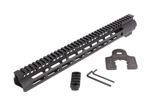 Midwest Industries Slim Line 15in free float M-LOK rail for the AR-15 includes a rail section and helpfully labeled barrel nut wrench.