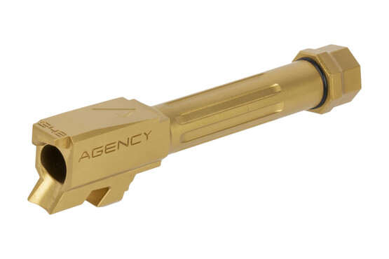 The Agency Arms G43 fluted barrel comes with a thread protector