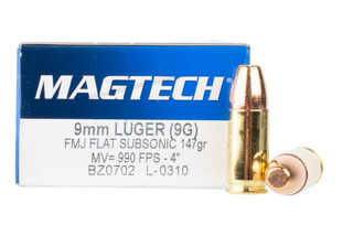 Magtech 9mm Subsonic ammunition features a 147 grain FMJ bullet