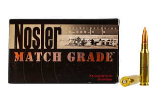 Nosler Match Grade .308 Win 168-grain boat tail hollow point ammo in 20-round boxes.