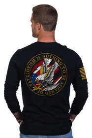 Nine Line Patriotism is Nothing to Be Ashamed of Long Sleeve T-Shirt in Black with graphic on back