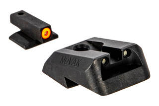 Night Fision Perfect Dot night sight set with square notch, orange front and black rear ring for Novak-cut 1911s.