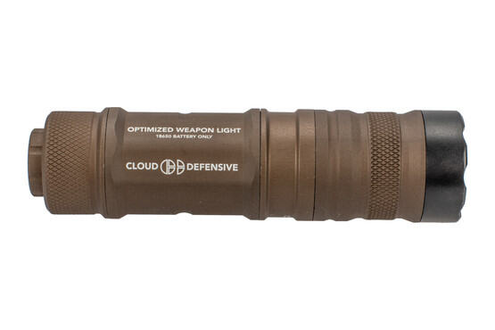 The Cloud Defensive Optimized Weapon Light FDE is designed for use with 18650 batteries