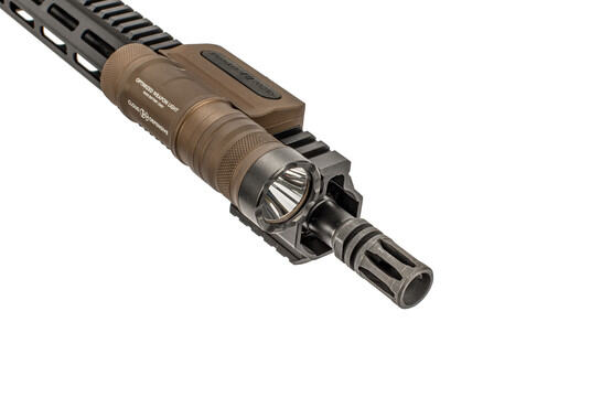 The Cloud Defensive OWL Light FDE features an integrated tape switch and picatinny rail mount