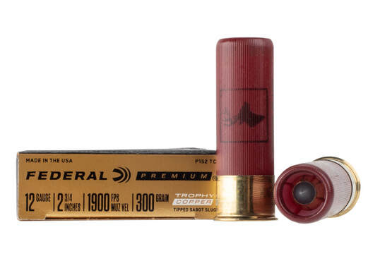 Federal Trophy copper 12 gauge sabot slug weighs 300 grains