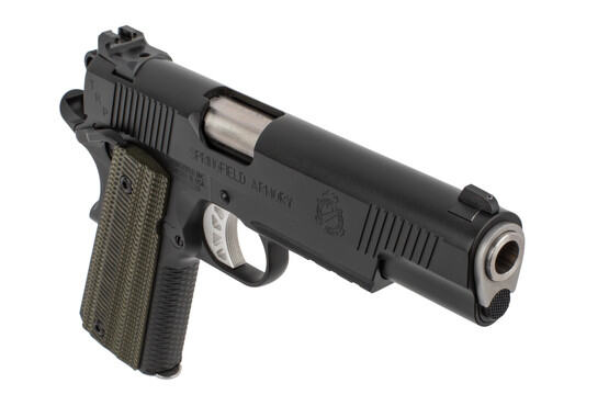 Springfield 1911 TRP Operator 10mm Pistol has a black finish with G10 grips
