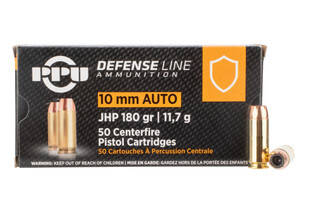 PPU Defense 10mm 180gr JHP Ammo features brass casing