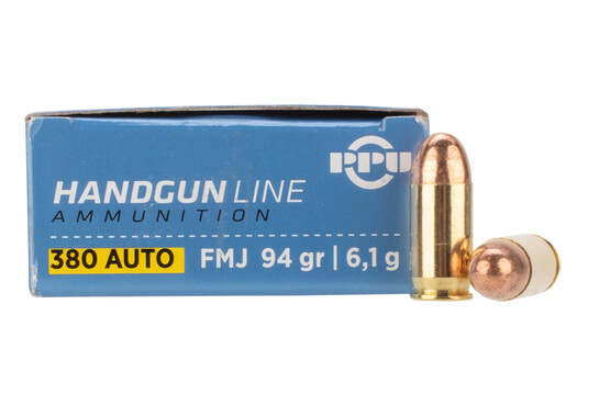 PPU 380 ACP 94gr FMJ Ammo with brass casing