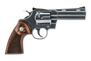 Colt Python 6-shot revolver in .357 magnum with stainless finish and walnut grips.
