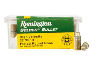 Remington 22 short rimfire ammunition features a plated round nose bullet