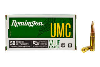 Remington UMC 300 Blackout ammunition loaded with 220-grain open tip flat base bullets in a 50-round box.