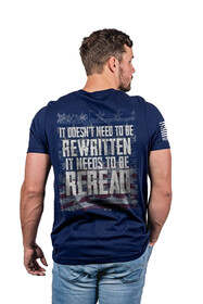 Nine Line ReRead Not ReWritten Short Sleeve T-Shirt in navy features cotton material