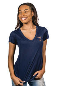 Nine Line apparel loose vneck shirt in navy from front