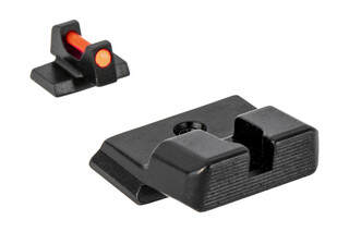 Trijicon's Fiber Sight Set for Smith & Wesson M&P and M&P 2.0 handguns is a high-contrast competition and carry sight set