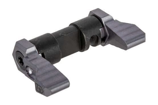 The Phase 5 Tactical AR15 ambidextrous safety selector 90 degree features a grey anodized finish