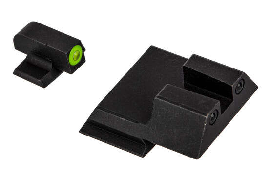 Night Fission Glow Dome M&P Shield night sight set features a square rear and Yellow front
