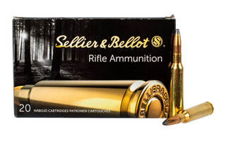 Sellier & Bellot 6.5x55mm Swedish 131 grain soft point ammo for target and training in 20-round boxes.
