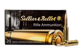 Sellier & Bellot 6.5 Creedmoor 140 grain soft point ammo for target and training in 20-round boxes.