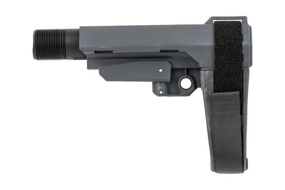 The SB Tactical Stealth Grey SBA3 pistol arm brace comes with a Mil-Spec carbine buffer tube