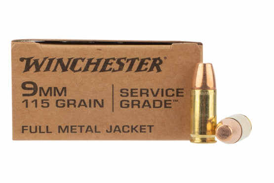 Winchester Service Grade 9mm ammo with FMJ flat point 115 grain bullet