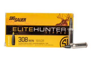 SIG Sauer .308 Winchester 165-gr Elite Hunting Tipped ammo available in 20-round boxes.