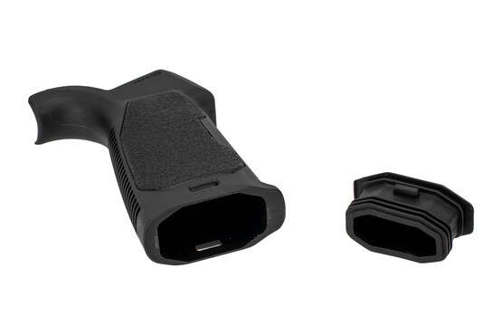 The Strike Industries Enhanced pistol grip 20 degree features internal storage with rubber endcap