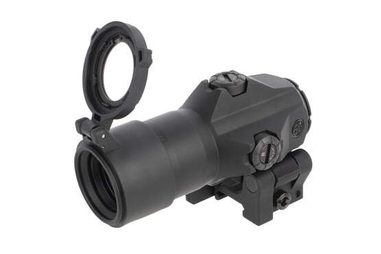 SIG Sauer's 3x Juliet 3 reddot magnifier with Power Cam mount includes a see-through flip-up protective lens cover