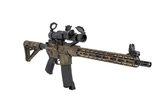 SIG Sauer Juliet 3 flip-to-side magnifier shown on a rifle mounted behind a 30mm red dot