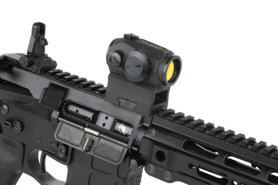 The Sig Romeo 5 red dot optic can be co-witnessed with iron sights