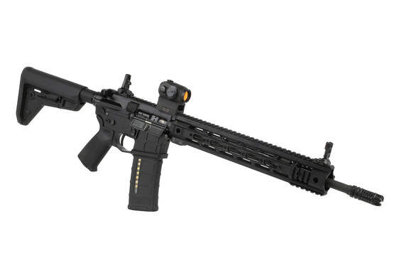 The Sig Sauer Romeo 5 AR red dot sight mounted to an AR15 rifle