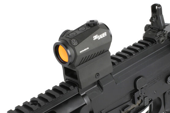 The Sig Romeo 5 compact red dot sight features 5,000 hours of battery life